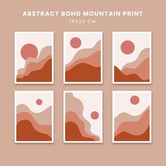 Abstrakcyjne plakaty sztuka ręcznie rysowane kształty okładki z boho słońcem i górą