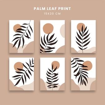 Abstrakcyjne plakaty z botanicznymi liśćmi palmowymi