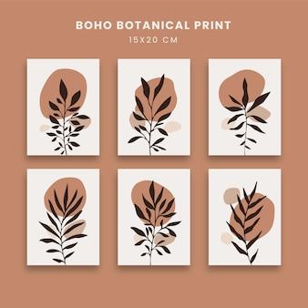 Abstrakcyjne plakaty z liśćmi botanicznymi