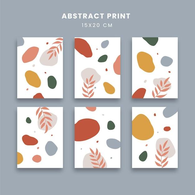 Abstrakcyjne plakaty z płynem i liśćmi
