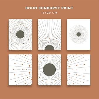 Abstrakcyjne plakaty z sunburst