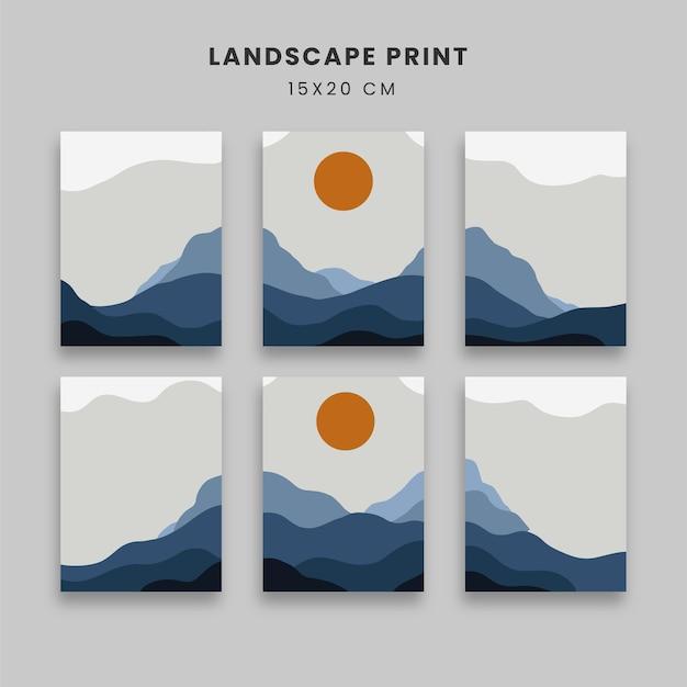 Abstrakcyjne plakaty ze słońcem i górą