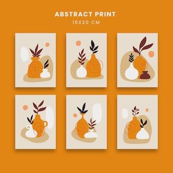 Abstrakcyjne plakaty zestaw z liśćmi i doniczką