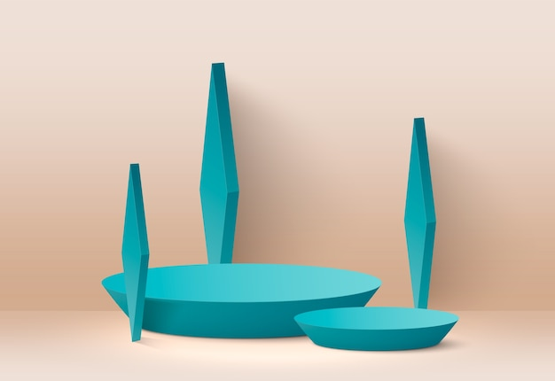 Abstrakcyjne podium w geometrycznych kształtach w kolorze niebiesko-zielonym