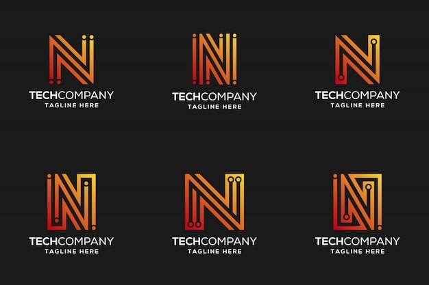 Abstrakcyjne projektowanie logo letter n tech odrobina koloru gradientu
