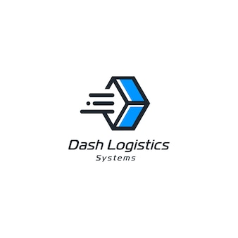 Abstrakcyjne pudełko ekspresowe koncepcje logistyczne ikona dostawy ze stylem linii na białym tle