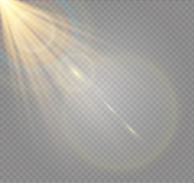 Abstrakcyjne soczewki złoty przedni rozbłysk słoneczny przezroczysty specjalny efekt świetlny
