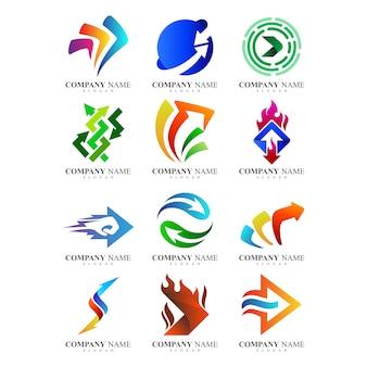 Abstrakcyjne szablony logo firmy strzałek