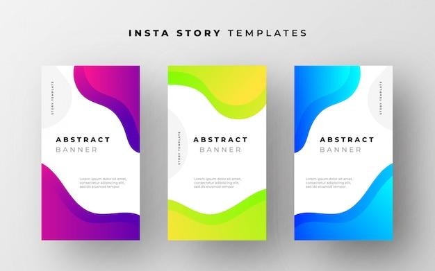 Abstrakcyjne szablony opowieści instagram z płynnymi kształtami