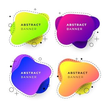 Abstrakcyjne szablony transparentu z kształtami gradientu płynu
