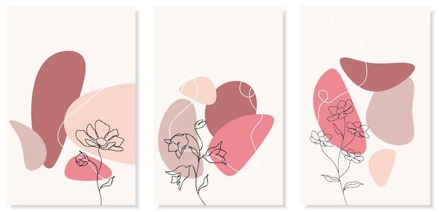 Abstrakcyjne tła o minimalnych kształtach i kwiatach i liściach grafiki liniowej.