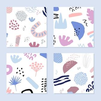 Abstrakcyjne tła w modnym stylu z elementami botanicznymi i geometrycznymi, tekstury