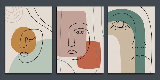 Abstrakcyjne tła z minimalnymi kształtami i graficznymi twarzami.