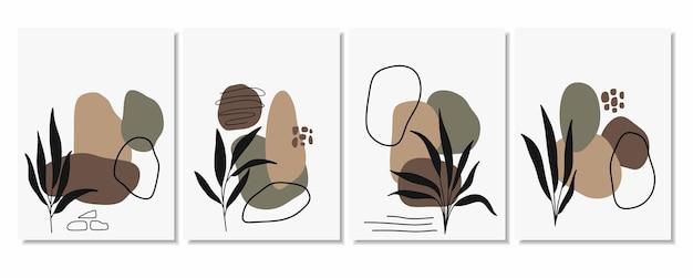 Abstrakcyjne tła z minimalnymi kształtami i liśćmi grafiki liniowej