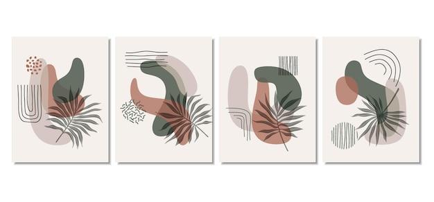 Abstrakcyjne tła z minimalnymi kształtami i liśćmi grafiki liniowej.