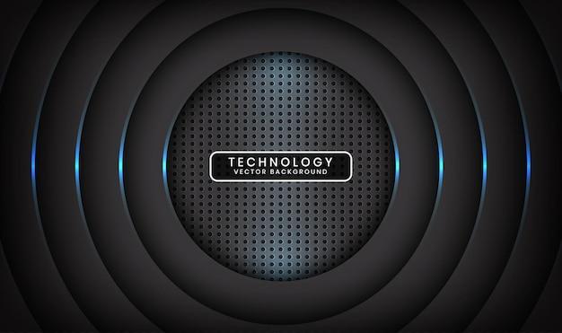 Abstrakcyjne tło 3d czarnej technologii nakłada się na warstwę z efektem niebieskiego koła światła