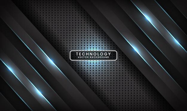 Abstrakcyjne tło 3d czarnej technologii nakłada się na warstwę z efektem niebieskiej linii światła