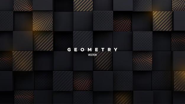 Abstrakcyjne tło 3d z losowymi kwadratowymi kształtami czarnej mozaiki z wygrawerowanymi złotymi wzorami
