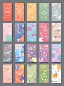 Abstrakcyjne tło banery zestaw minimalistycznych szablonów okładek do prezentacji dekoracji plakaty styl memphis pionowe miejsca kopiowania