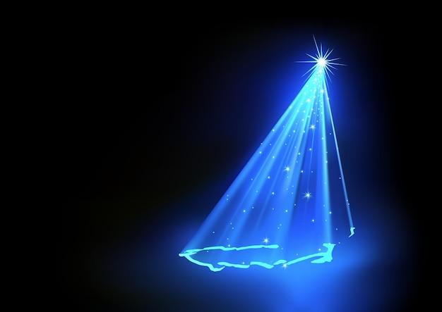 Abstrakcyjne tło boże narodzenie z choinką utworzone z niebieskich świateł laserowych