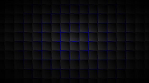 Abstrakcyjne tło czarnych kwadratowych płytek z niebieskimi przerwami między nimi