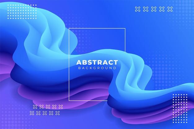Abstrakcyjne tło dynamiczny płynny kształt 3d gradient niebieski i fioletowy