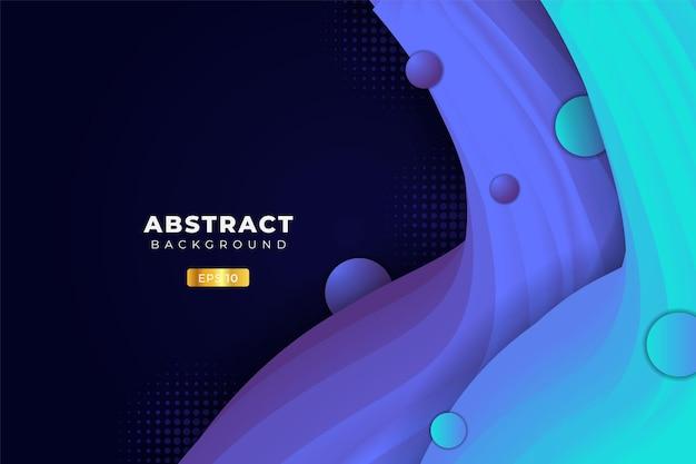 Abstrakcyjne tło dynamiczny płynny kształt 3d niebieski i fioletowy w ciemności