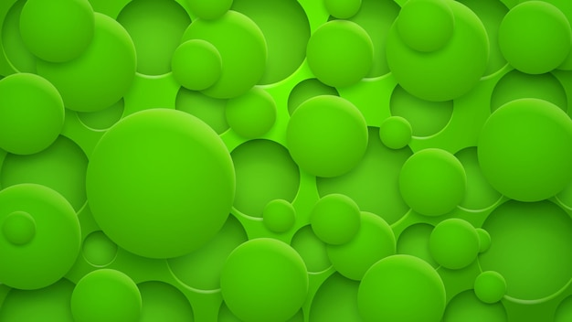 Abstrakcyjne tło dziur i okręgów z cieniami w zielonych kolorach