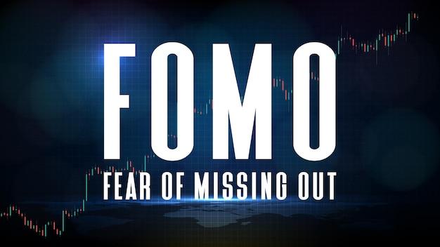 Abstrakcyjne tło futurystycznej technologii fomo strach przed utratą na giełdzie i rynku kryptowalut