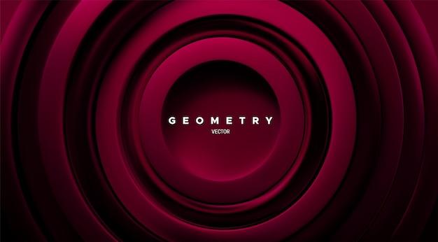 Abstrakcyjne tło geometryczne z ciemnoczerwonymi koncentrycznymi pierścieniami