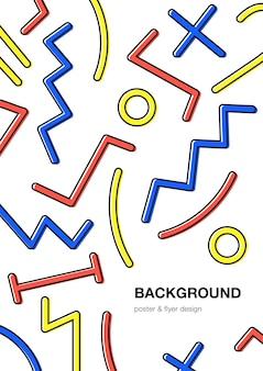 Abstrakcyjne tło. modny plakat z geometrycznym wzorem, kształtami. tło w stylu memphis z miejscem na tekst.