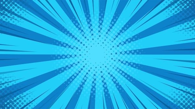 Abstrakcyjne tło. niebieskie promienie światła rozchodzą się od środka w komiksowym stylu.