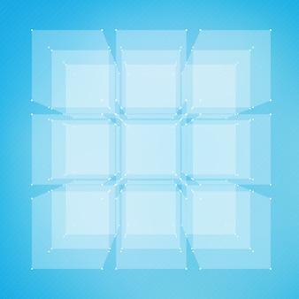Abstrakcyjne tło oczek sieci. chaotycznie połączone punkty i wielokąty latające w kosmosie. latające gruzy. futurystyczny styl technologii karty. linie, punkty, okręgi i płaszczyzny. futurystyczny wygląd.