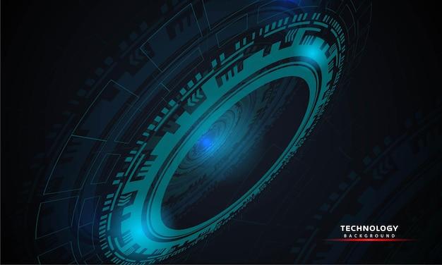 Abstrakcyjne tło okrągłej futurystycznej technologii z elementami hud koło cyfrowy futurystyczny niebieski ...