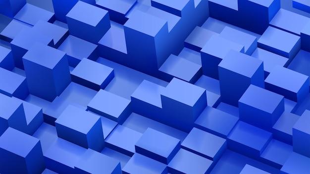 Abstrakcyjne tło sześcianów i równoległościanów w niebieskich kolorach z cieniami