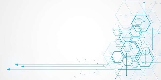 Abstrakcyjne tło sześciokątne technologii z pustą przestrzenią