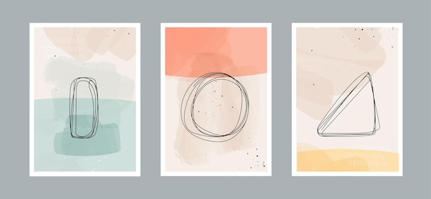 Abstrakcyjne tło sztuki współczesnej z geometryczną równowagą kształtuje tęczę i słońce na ścianie