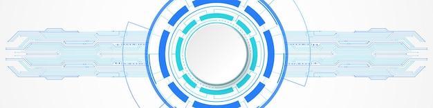 Abstrakcyjne tło technologii, biały baner koła na niebieskim okręgu cyfrowym i płytce drukowanej