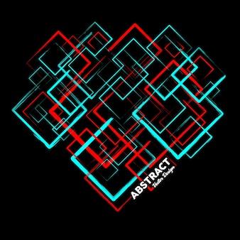 Abstrakcyjne tło w kolorach czerwonym i niebieskim wykonane z losowych kwadratów ilustracji wektorowych