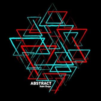 Abstrakcyjne tło w kolorach niebieskim i czerwonym wykonane z losowych trójkątnych kształtów ilustracja wektorowa