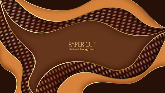Abstrakcyjne tło wycinane z papieru czekoladowe i złote faliste warstwy