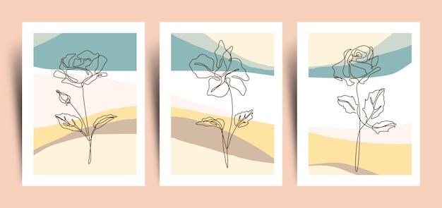 Abstrakcyjne tło z ciągłej kwitnące kwiaty linii kolekcja sztuki
