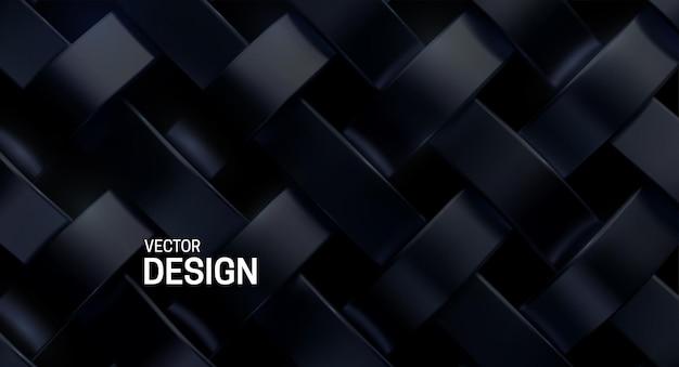 Abstrakcyjne tło z czarnym metalicznym wzorem splotu