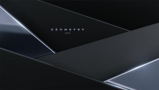 Abstrakcyjne tło z czarnymi i srebrnymi geometrycznymi kształtami