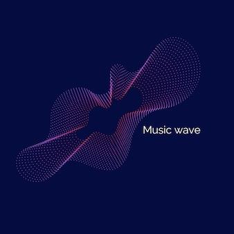 Abstrakcyjne tło z dynamicznymi falami muzycznymi, linią i cząstkami.