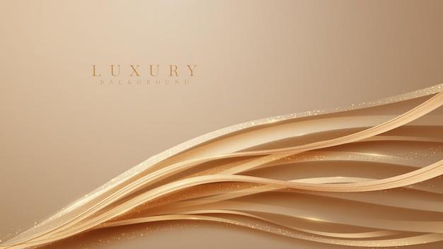 Abstrakcyjne tło z eleganckimi brązowymi kształtami fal z błyszczącymi złotymi zakrzywionymi liniami