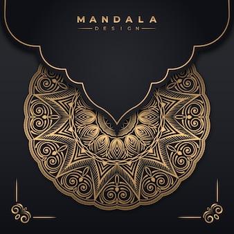 Abstrakcyjne tło z luksusowym złotym projektem mandali premium wektorów