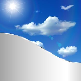 Abstrakcyjne tło z niebem, chmurami, słońcem i metalicznym paskiem