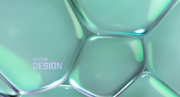 Abstrakcyjne tło z pastelowymi zielonymi przezroczystymi miękkimi bąbelkami
