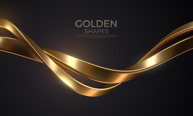 Abstrakcyjne tło z realistycznym złotym splecionym metalowym kształtem